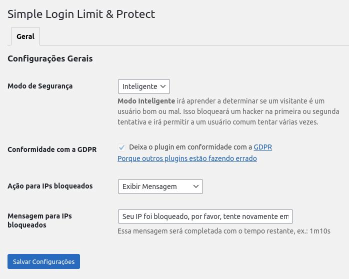 Simple Login Limit & Protect - Configurações Gerais